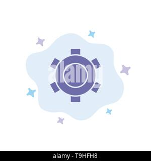 Basic, Gear, Setting, Ui Blue Icon on Abstract Cloud Background - Stock Photo