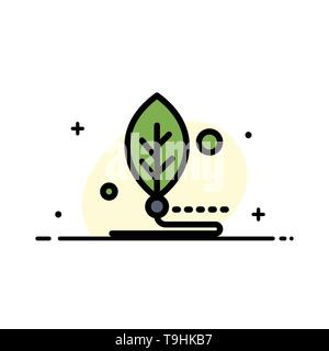 Artificial, Biology, Digital, Leaf, Life  Business Flat Line Filled Icon Vector Banner Template - Stock Photo