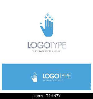 Gesture, Hand, Arrow, Down Blue Solid Logo with place for tagline - Stock Photo