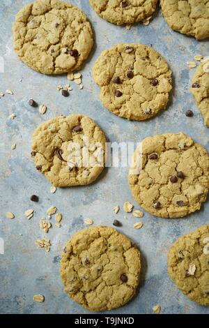 Homemade Gluten free Oatmeal chocolate chip cookies,selective focus - Stock Photo