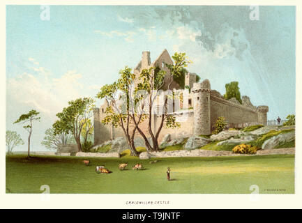 Vintage print of Craigmillar Castle circa 1880. Craigmillar Castle is a ruined medieval castle in Edinburgh, Scotland. It was begun in the late 14th century by the Preston family, feudal barons of Craigmillar, and extended through the 15th and 16th centuries. - Stock Photo
