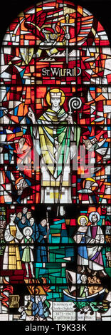 St. Wilfred commemorated in stained glass, Ripon Cathedral, UK - Stock Photo