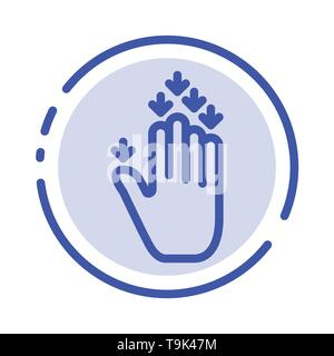 Gesture, Hand, Arrow, Down Blue Dotted Line Line Icon - Stock Photo