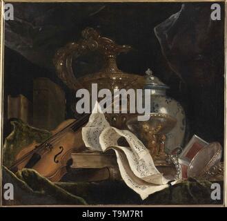 Still life with musical instrument. Museum: Musée des Beaux Arts, Quimper. Author: Largillière, Nicolas, de. - Stock Photo