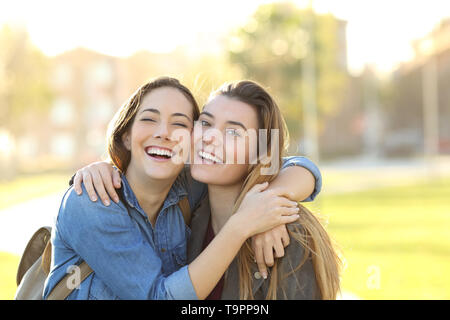 Happy best friends embracing and posing looking at camera in a park at sunset - Stock Photo
