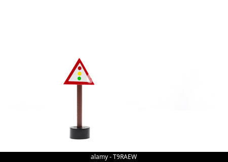white background with traffic signals. circulation code. learn how to drive. Pass driving license traffic rules.driving license.speed limit - Stock Photo