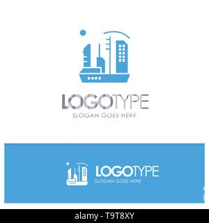 City, Colonization, Colony, Dome, Expansion Blue Solid Logo with place for tagline - Stock Photo
