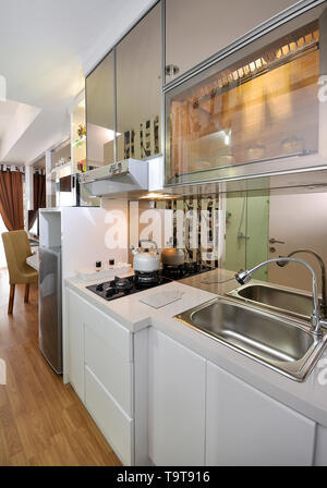 Kitchen set at small apartement, studio type - Stock Photo