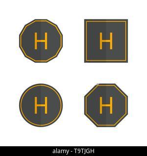 Set of various helipad icons isolated on white background. Flat style, vector illustration. - Stock Photo
