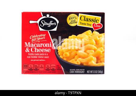 Stouffer's Classic Macaroni & Cheese frozen food box - Stock Photo