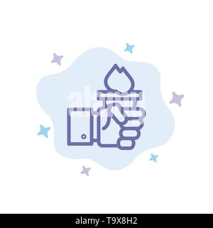 Business, Hand, Leader, Leadership, Olympic Blue Icon on Abstract Cloud Background - Stock Photo