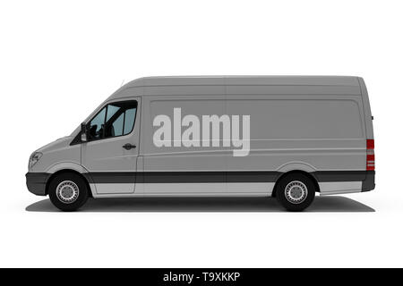 3d rendering of Van or truck of freight forwarder or shipping company quickly delivers packages and deliveries - Stock Photo