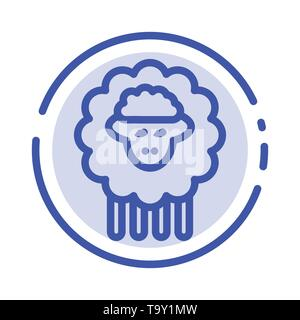 Mutton, Ram, Sheep, Spring Blue Dotted Line Line Icon - Stock Photo