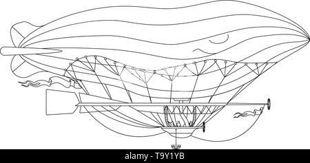 vector airship, zeppelin, dirigible retro clip art - Stock Photo