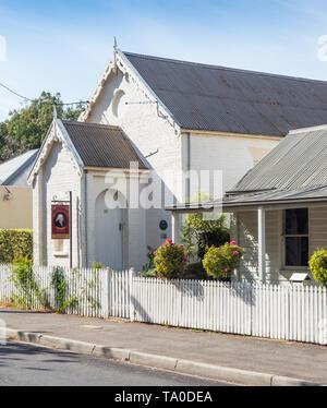 TASMANIA, AUSTRALIA - MARCH 4, 2019: The Old Wesleyan Chapel in Russell Street, in the historic town of Evandale in Tasmania, Australia. - Stock Photo