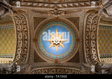 Coupole. Basilique Notre-Dame de Fourvière. Lyon.  Cupola. Basilica of Notre-Dame de Fourvière. Lyon. - Stock Photo