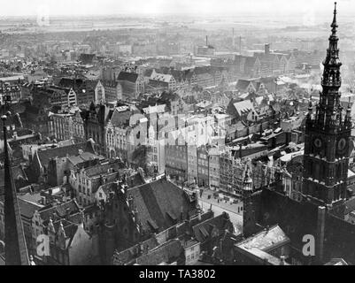 View from the Church of St. Mary on the Town Hall, Langen Markt and the Speicherinsel of Danzig. - Stock Photo