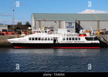 MV Argyll Flyer, at James Watt Dock in Greenock, sporting its new Caledonian MacBrayne livery. - Stock Photo