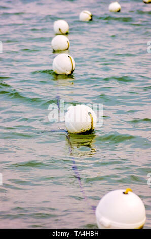 Safety rope buoys float in the Gulf of Mexico, Aug. 2, 2014, in Dauphin Island, Alabama. - Stock Photo