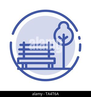 Bench, Chair, Park, Hotel Blue Dotted Line Line Icon - Stock Photo