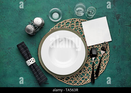 Simple table setting on color background - Stock Photo