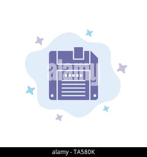 Floppy, Diskette, Save Blue Icon on Abstract Cloud Background - Stock Photo
