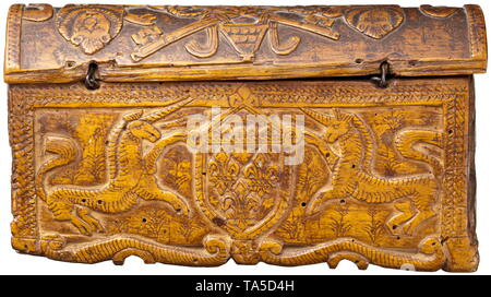 A French or Italian carved chest, 16th/17th century Rectangular casket with a hinged, arched lid. The body with a short base and the lid both carved in one piece. Rich relief ornamentation on all surfaces. The iron lock with hasp (the key missing), flanked by two Triton figures. On the sides stylised trees of life, on the back the coat of arms of the house of Bourbon flanked by two unicorns. The lid with representation of the papal Medici coat of arms, flanked by lions. Dimensions 10.5 x 19 x 6 cm. historic, historical, handicrafts, handcraft, cr, Additional-Rights-Clearance-Info-Not-Available - Stock Photo