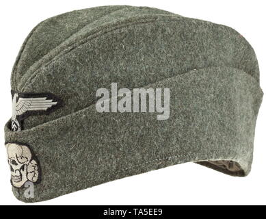 A garrison cap for enlisted men/NCOs of the Waffen-SS depot piece Field-grey woollen cloth in SS 'boat-shaped' cut with stitched-in cap piping in base cloth, thin light blue linen liner with maker's stamping from Mestska (Czechoslovakia), maker's- or RB number from 1943 and size designation 58. Machine-stitched silver-grey (colour difference) on black woven BeVo insignia. historic, historical, 20th century, 1930s, 1940s, Waffen-SS, armed division of the SS, armed service, armed services, NS, National Socialism, Nazism, Third Reich, German Reich, Germany, military, militaria, Editorial-Use-Only - Stock Photo