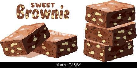 vector chocolate brownies isolated on white background. piles of brownie cake pieces with nuts as homemade dessert food illustration. eps10 - Stock Photo