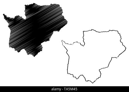 Cuanza Sul Province (Provinces of Angola, Republic of Angola) map vector illustration, scribble sketch Kwanza-Sul map - Stock Photo