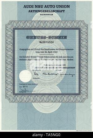 Historic stock certificate, Securities certificate, bearer warrant, Germany, Historische Aktie, Genuss-Schein der Audi NSU Auto Union Aktiengesellschaft, 1969, Neckarsulm, Deutschland, Europa - Stock Photo