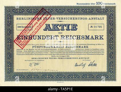 Historic stock certificate, Reichsmarks obligation, Germany, Historische Aktie über 300 Reichsmark, Magdeburger Feuerversicherungs-Gesellschaft, Magdeburg, 1928, Deutschland, Europa - Stock Photo