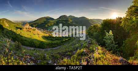 Spring mountain rural coutryside landcape with village - Stock Photo