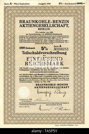 Historic stock certificate, Reichsmarks obligation, Germany, Historisches Wertpapier, Teilschuldverschreibung über 1000 Reichsmark, 1940, Braunkohle-Benzin Aktiengesellschaft, Berlin, BRABAG, Deutschland, Europa - Stock Photo