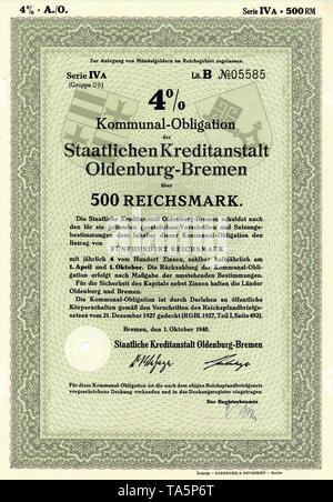 Historic stock certificate, Reichsmarks obligation, Germany, Schuldverschreibung über 500 Reichsmark, Kommunal-Obligation der Staatlichen Kreditanstalt Oldenburg-Bremen, 1940, Deutschland, Europa - Stock Photo