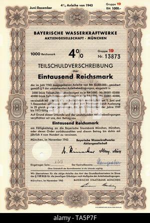 Historic stock certificate, Reichsmarks obligation, Germany, Historische Aktie, Schuldverschreibung der Bayerischen Wasserkraftwerke AG München, 1000 Reichsmark, 1943, Deutschland, Europa - Stock Photo