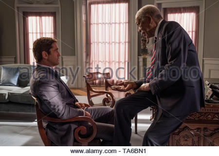 RELEASE DATE: August 23, 2019 TITLE: Angel Has Fallen STUDIO: Summit Entertainment DIRECTOR: Ric Roman Waugh PLOT: Secret Service Agent Mike Banning is framed for the attempted assassination of the President and must evade his own agency and the FBI as he tries to uncover the real threat. STARRING: GERARD BUTLER as Mike Banning, MORGAN FREEMAN as Allan Trumbull. (Credit Image: © Summit Entertainment/Entertainment Pictures) - Stock Photo