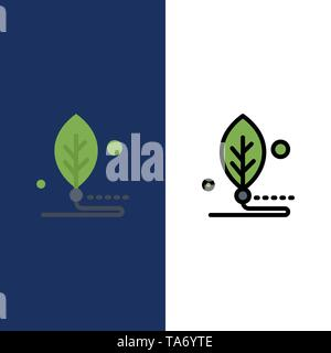 Artificial, Biology, Digital, Leaf, Life  Icons. Flat and Line Filled Icon Set Vector Blue Background - Stock Photo