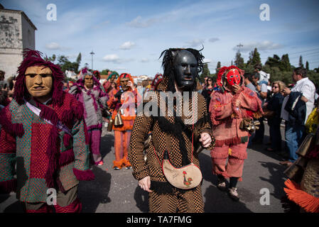 Lisbon, Portugal. 18 May 2019. Iberic costumes International Festival 2019 in Belem in Lisbon. - Stock Photo