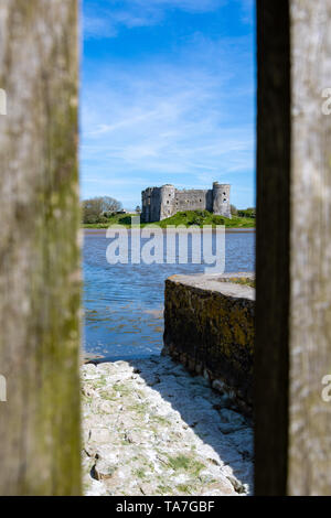 Carew Castle In between the sticks - Stock Photo