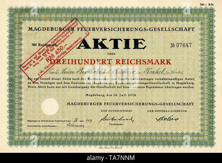 Historic stock certificate, Reichsmarks obligation, Germany, Historische Aktie über 100 Reichsmark, Berliner Feuer-Versicherungsanstalt, 1924, Berlin, Deutschland, Europa - Stock Photo