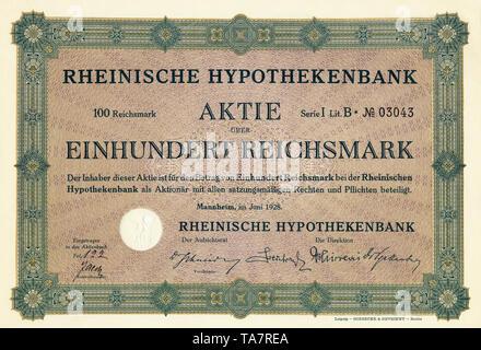 Historic stock certificate, Reichsmarks obligation, Germany, Historische Aktie über 100 Reichsmark, Rheinische Hypothekenbank, Mannheim, 1928, Deutschland, Europa - Stock Photo