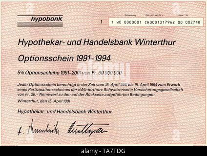 Historic stock certificate, Securities certificate, bearer warrant,Historisches Wertpapier, Inhaber-Optionsschein über 20 schweizer Franken, 1991, Hypobank, Hypothekar- und Handelsbank Winterthur, Schweiz, Europa - Stock Photo
