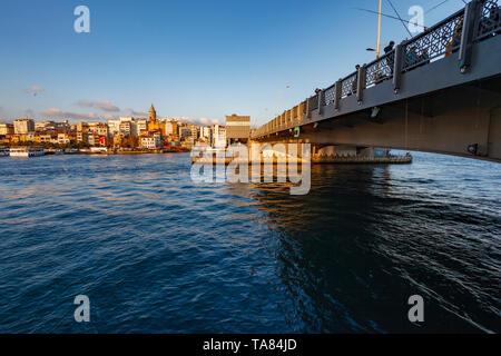 Galata Bridge, Galata Tower on the Golden Horn, Istanbul, Turkey - Stock Photo