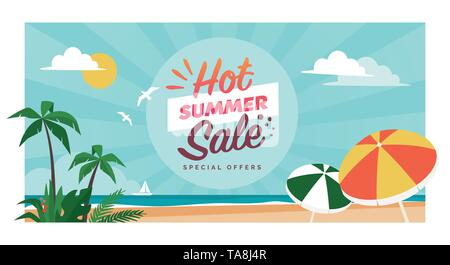 Promotional hot summer sale banner with tropical beach and palms, seasonal shopping concept - Stock Photo