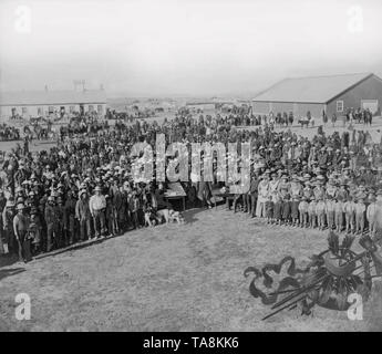 Taking the Census at Standing Rock Agency, South Dakota, Photograph by David Francis Barry, between 1880 and 1900 - Stock Photo