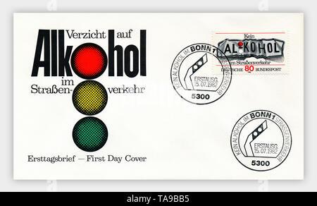 Ersttagsbriefe der Deutschen Bundespost, 'Kein Alkohol im Straßenverkehr', 1979, Deutschland, Europa - Stock Photo