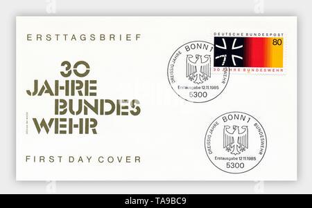 Ersttagsbriefe der Deutschen Bundespost, '30 Jahre Bundeswehr', 1985, Deutschland, Europa - Stock Photo