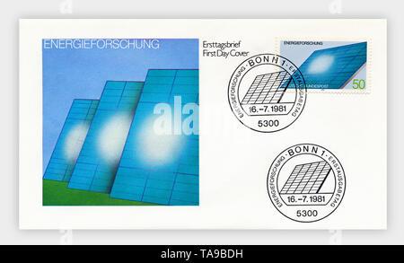 Ersttagsbriefe der Deutschen Bundespost, 'Energieforschung', 1981, Deutschland, Europa - Stock Photo