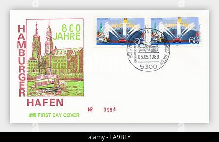Ersttagsbriefe der Deutschen Bundespost, '800 Jahre Hamburger Hafen', 1989, Deutschland, Europa - Stock Photo